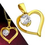 Pendentif gold-ip coeur avec zircone rond (70)