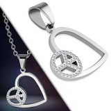Pendentif coeur peace and love strass (72)