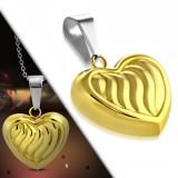 Pendentif coeur gold-ip avec rayures (79)