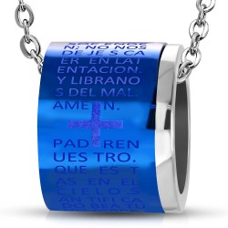 Pendentif anneau 02 - Fond bleu avec croix