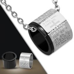 Pendentif anneau 05 - Croix et texte