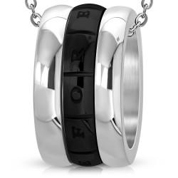 Pendentif anneau 06 - Bande noire love