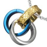 Pendentif anneau 16 - Triple jaune, gris et bleu