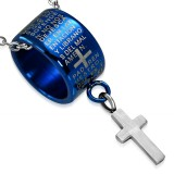 Pendentif anneau 18 - Bleu latin croix pendante