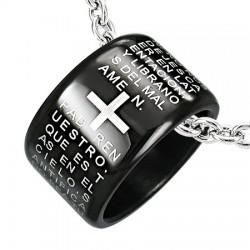 Pendentif anneau 20 - Noir latin avec croix