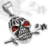 Pendentif gothique 34 - Crâne yeux rouges et fleur