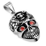 Pendentif gothique 35 - Crâne yeux rouges