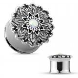 Plug en acier fleur opalite
