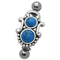 Piercing micro-barbell 39 - Turquoise