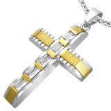 Pendentif croix 003 - Grise et jaune zircone
