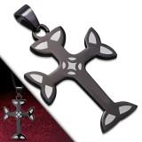 Pendentif croix 004 - Noire bords gris