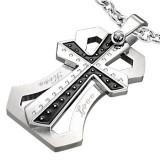 Pendentif croix 010 - Noire et grise love