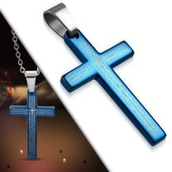 Pendentif croix 012 - Bleue latin