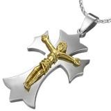 Pendentif croix 016 - Jesus jaune
