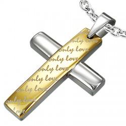 Pendentif croix 018 - Jaune only love