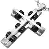 Pendentif croix 020 - Cylindres noirs