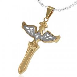 Pendentif croix 022 - Jaune avec ailes