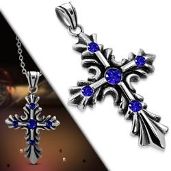 Pendentif croix 029 - Médiévale strass bleus