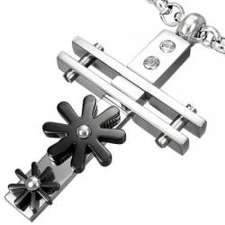 Pendentif croix 032 - Deux fleurs noirs