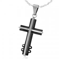 Pendentif croix 037 - Noire quatre strass