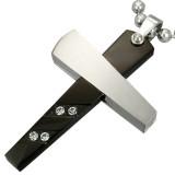 Pendentif croix 039 - Noire quatre strass et grise