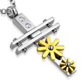 Pendentif croix 040 - fleurs jaunes