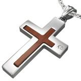 Pendentif croix 043 - Centre en bois