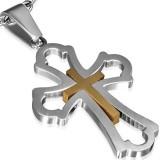 Pendentif croix 055 - Centre jaune