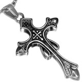 Pendentif croix 071 - Médiévale strass rose