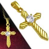 Pendentif croix 085 - Gold-ip striée
