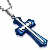 Pendentif croix 091 - Bleue masculin et féminin