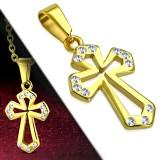 Pendentif croix 093 - Gold-ip creux strass transparents