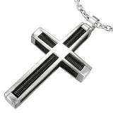 Pendentif croix 105 - Cables noirs