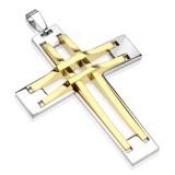 Pendentif croix 135 - Deux lignes jaunes