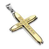Pendentif croix 110 - Jaune strass