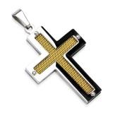 Pendentif croix 116 - Fibre de carbone jaune