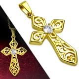 Pendentif croix 122 - Gold-ip fleur zircone rond