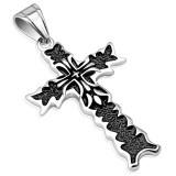 Pendentif croix 134 - Fleur de lys centre noir