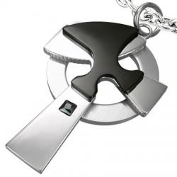 Pendentif croix 028 - Cercle et motif noir