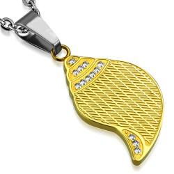 Pendentif acier 02 - Feuille jaune strass