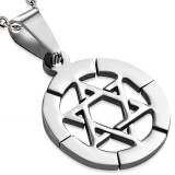 Pendentif acier 05 - étoile de David dans cercle