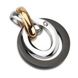 Pendentif acier 08 - Cercles gris et noirs
