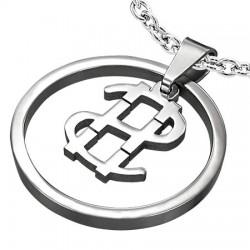 Pendentif acier 11 - Dollar US dans cercle
