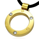Pendentif acier 12 - Cercle jaune strass