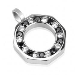 Pendentif acier 19 - Cercle zircones noirs et transprents