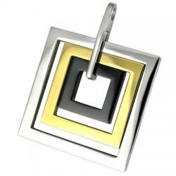 Pendentif acier 28 - Trois carrés