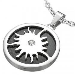 Pendentif acier 40 - Cercle noir soleil