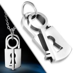 Pendentif acier 41 - Serrure et clé