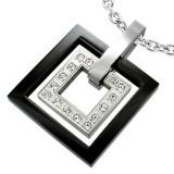 Pendentif acier 43 - Deux carrés