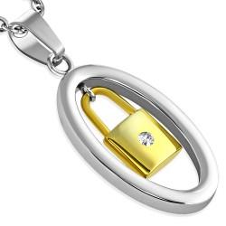 Pendentif acier 45 - Cadenas jaune